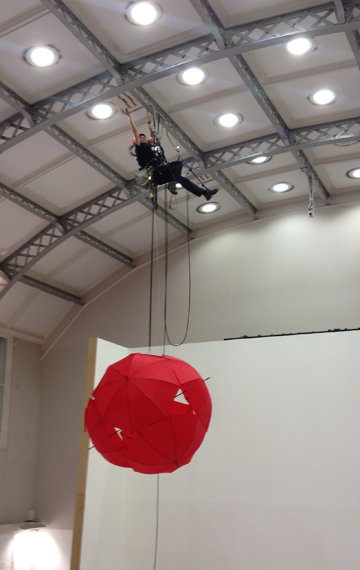 Art installation with rope access
