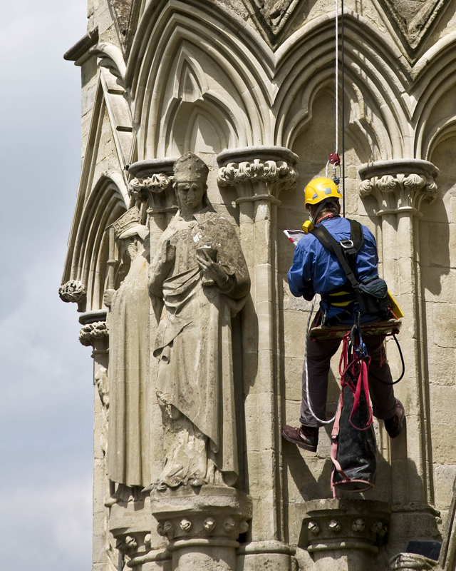 Cathederal restoration and conservation with rope access